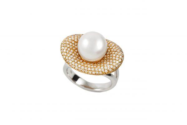 Sortjia oro 18 Ktes con perla australiana y diamantes Jose Luis Joyero Malaga