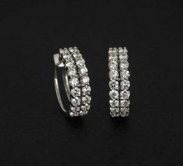 Pendientes oro blanco con diamantes Joyeria Jose Luis Joyero Malaga
