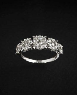 Sortija oro blanco 18 Ktes y diamantes Joyeria Jose Luis Joyero Centro Historico Malaga