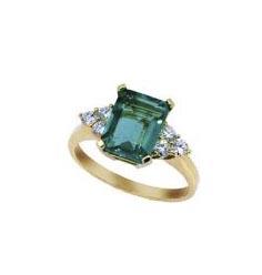 Anillo oro rosa cuarzo verde y diamantes Joyeria Jose Luis Joyero Malaga