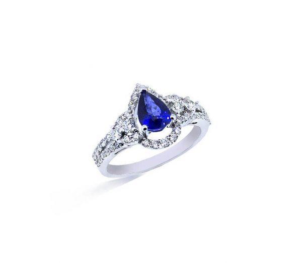 d386c0dc8b42 Anillo oro blanco con zafiros y diamantes - Jose Luis Joyero
