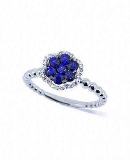 Anillo oroblanco con zafiros y diamantes Joyeria Jose Luis Joyero Malaga