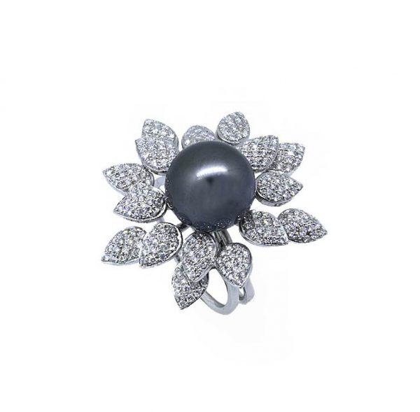 Sortija oro blanco 18 Ktes con perla tahiti y diamantes Jose Luis Joyero Malaga
