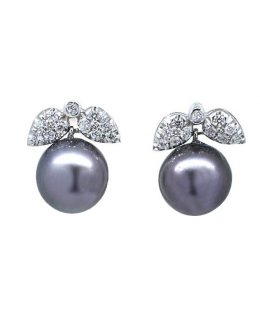Pendientes oro blanco 18 Ktes con diamantes y perlas de tahiti Jose Luis Joyero Malaga