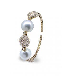 Pulsera oro rosa 18 Ktes con diamantes y perlas australianas Jose Luis Joyero Malaga