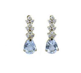 Pendientes de oro con topacios azules y diamantes Jose Luis Joyero Malaga