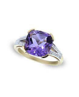 Sorija oro rosa 18 Ktes con amatista natural y diamantes Jose Luis Joyero Malaga
