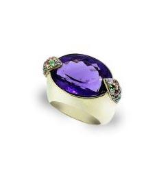 Anillo oro con amatista zafiros y diamantes Joyeria Jose Luis Joyero Malaga