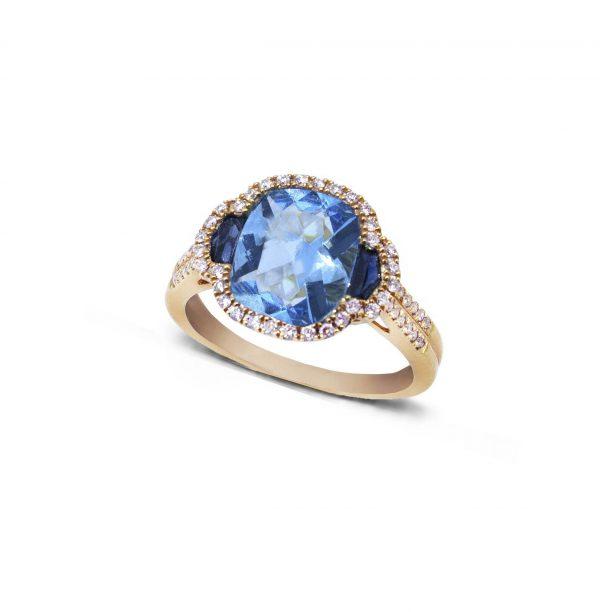 Sortija oro 18 Ktes con tpacio azul y diamantes Jose Luis Joyero Malaga