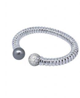 Pulsera oro blanco 18 Ktes con diamantes y perla tahiti Jose Luis Joyero Malaga