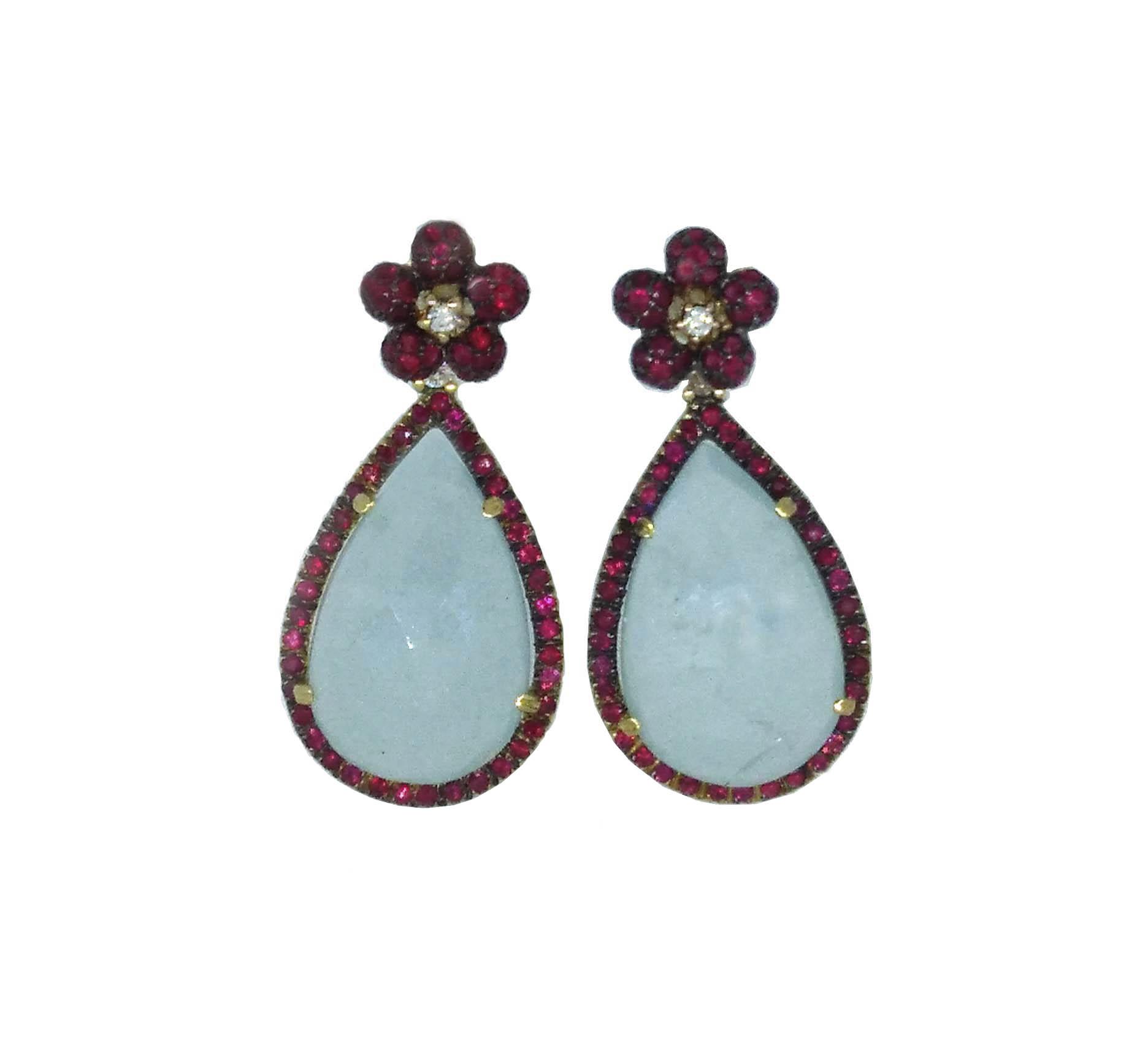 pendientes oro 18 Ktes con aguamarina, rubies y diamantes Jose Luis Jpyero Malaga