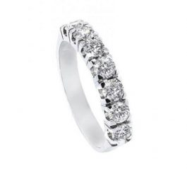 Anillo media alianza oro blanco con diamantes Joyeria Jose Luis Joyero Malaga