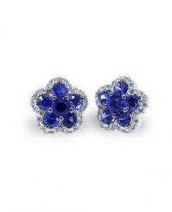 Pendientes con diamantes y zafiros