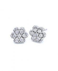 Pendientes oro blanco con diamantes 18ktes