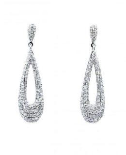 Pendientes oro blancos con diamantes novia Joyeria Jose Luis Joyero Malaga