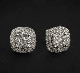 Pendiente oro blanco con diamantes Joyeria Jose Luis Joyero Malaga