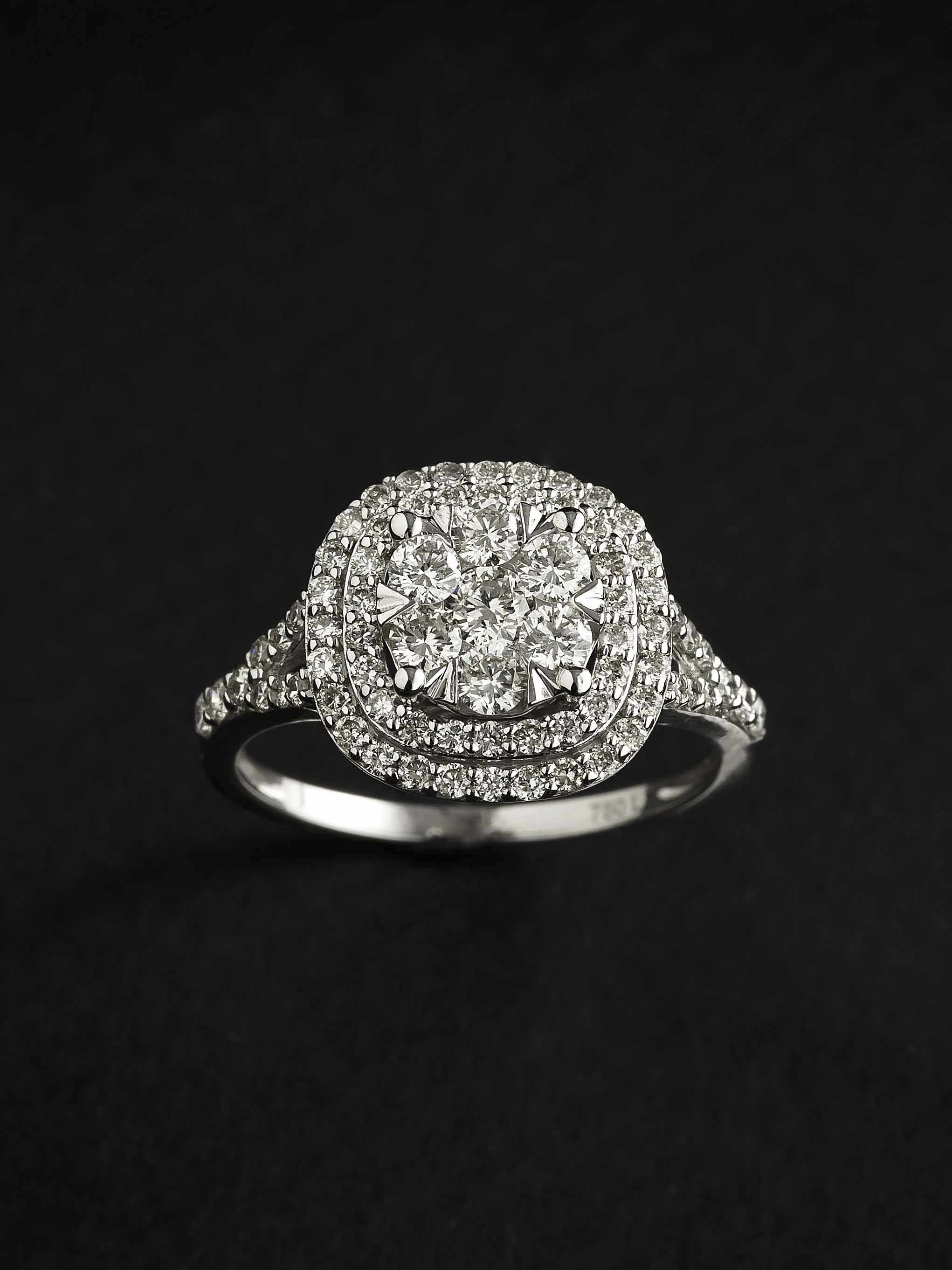 Sortija oro blanco diamantes One Carat Joyeria Jose Luis Joyero Malaga