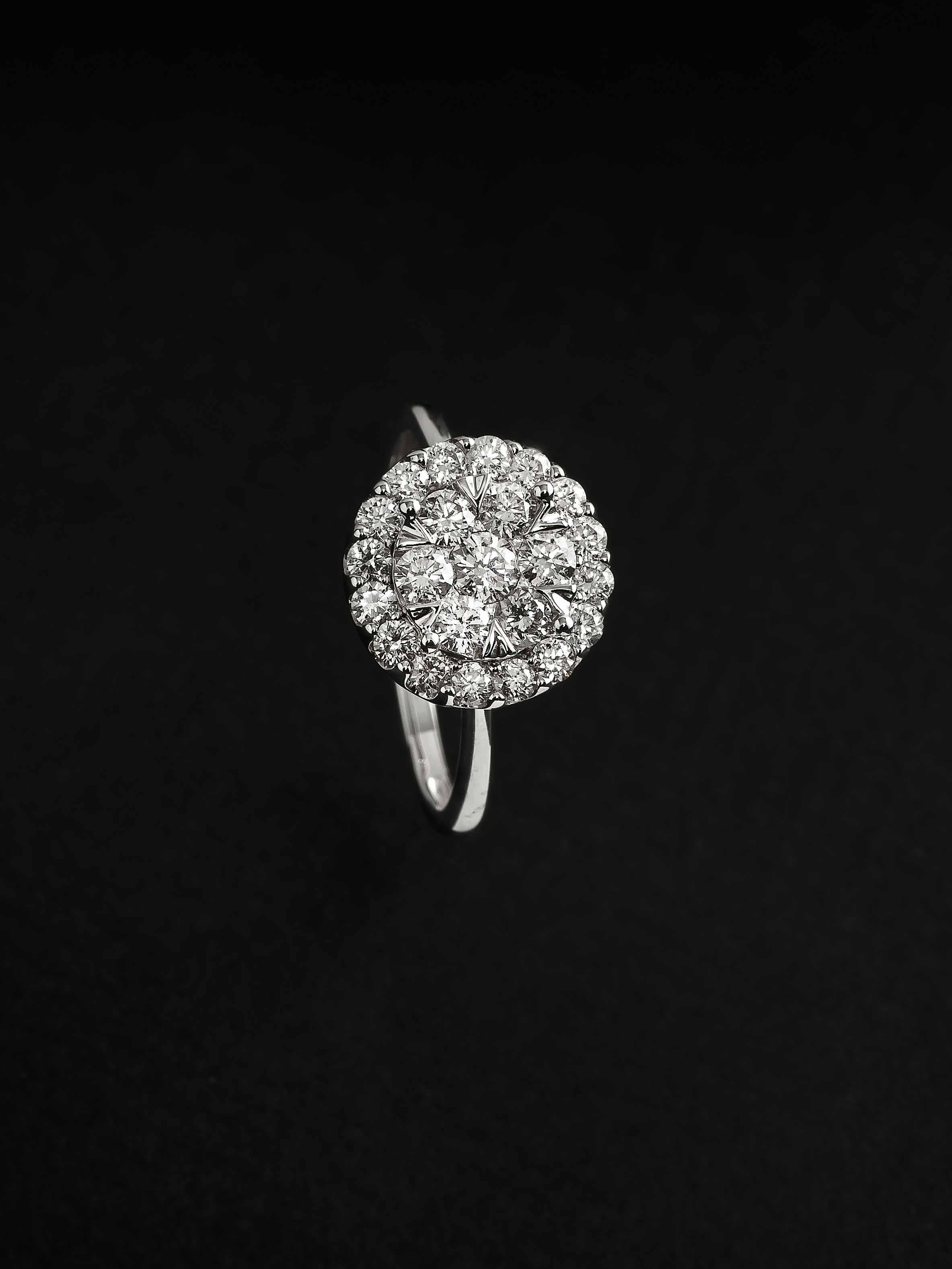Sortija oro blanco diamante Joyeria Jose Luis Joyero Malaga