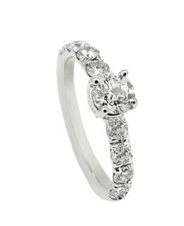 Stja. oro blanco 18ktes. con diamantes